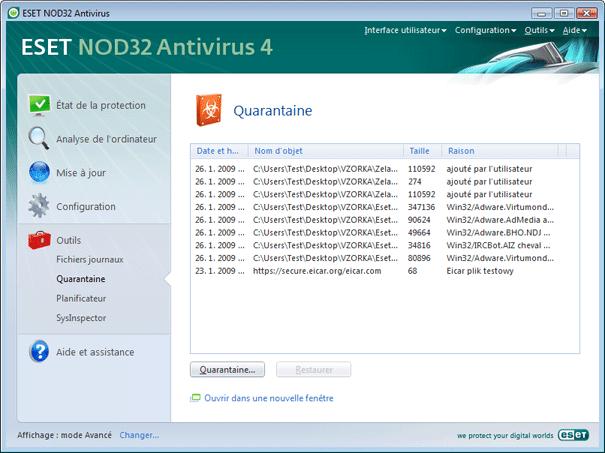 Nod32 ea page quarantine Quarantaine