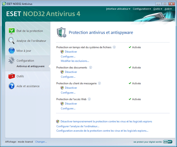 Nod32 ea page settings antivirus Configuration   Mode avancé