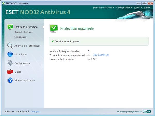 Nod32 ea page status État de la protection