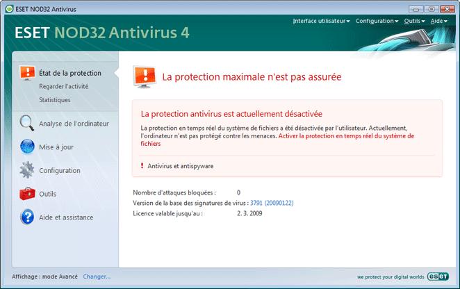 Nod32 ea page status 02 Que faire lorsque le programme ne fonctionne pas correctement