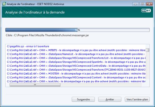 Nod32 ea scan window Analyse de lordinateur   fenetre