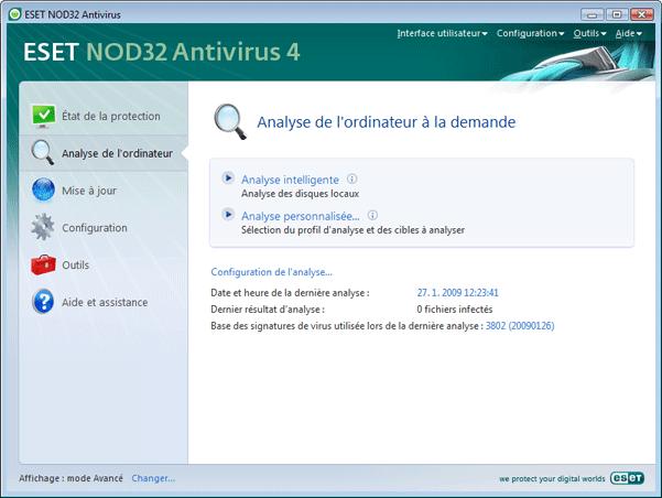 Nod32 ea scanner main Analyse de lordinateur a la demande