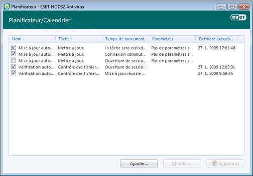 Nod32 ea scheduler window Planificateur   nouvelle fenetre