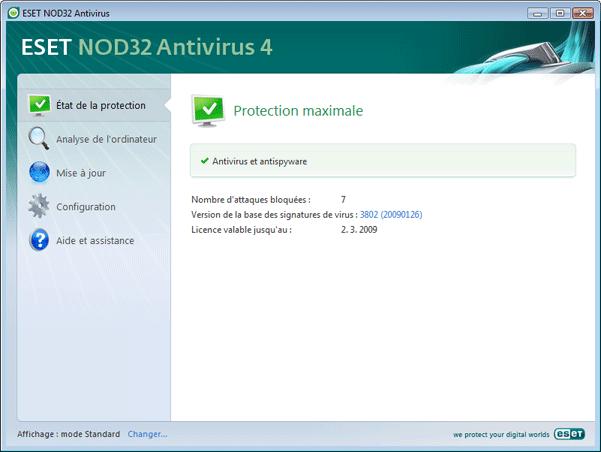 Nod32 ea simple mode Présentation de linterface utilisateur