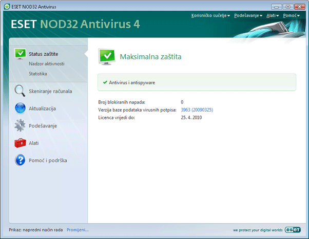 Nod32 ea advanced mode Napredni način rada