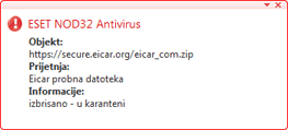 Nod32 ea antivirus behavior and user interaction Funkcioniranje antivirusne zaštite i interakcija s korisnikom