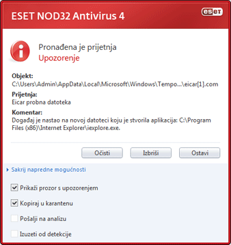 Nod32 ea antivirus behavior and user interaction 01 Funkcioniranje antivirusne zaštite i interakcija s korisnikom