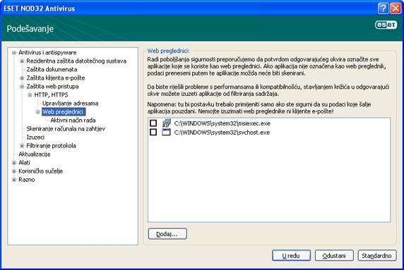 Nod32 ea config epfw browsers Web preglednici