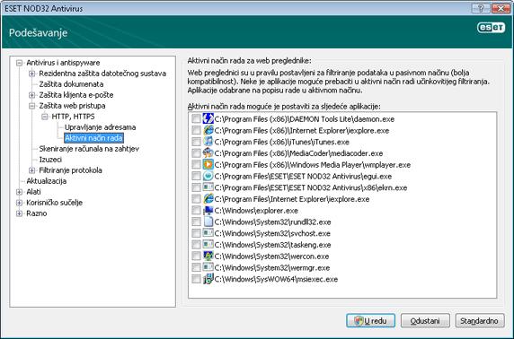 Nod32 ea config epfw browsers mode Aktivni način rada