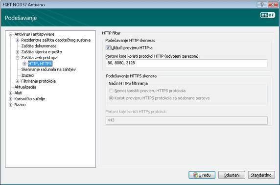 Nod32 ea config epfw scan http HTTP filtar