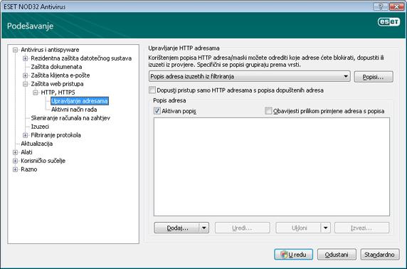 Nod32 ea config epfw scan http excludelist Upravljanje HTTP adresama
