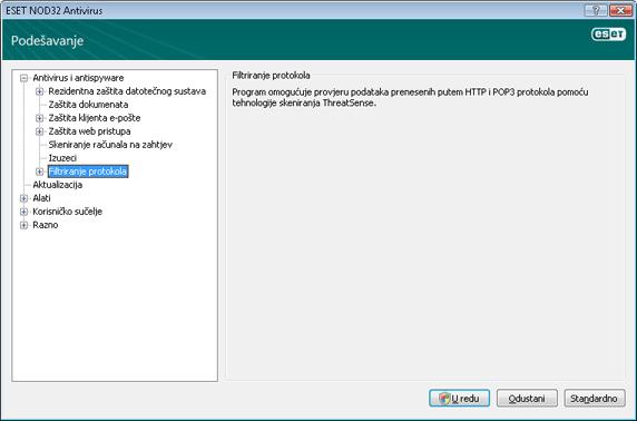 Nod32 ea config epfw scan main page Filtriranje protokola