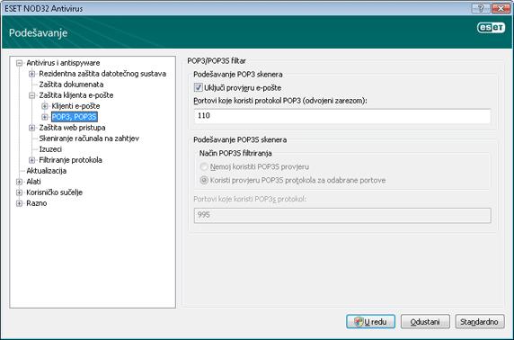 Nod32 ea config epfw scan pop3 Provjera protokola POP3