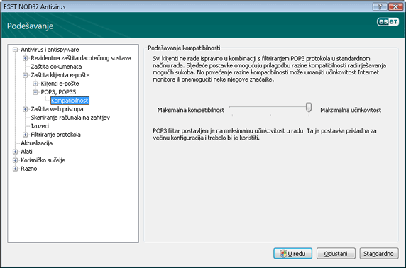 Nod32 ea config epfw scan pop3 comp Kompatibilnost