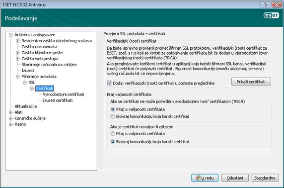 Nod32 ea config epfw ssl cert set Certifikati