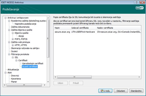 Nod32 ea config epfw ssl exclude Izuzeti certifikati