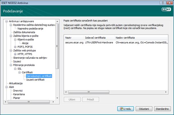 Nod32 ea config epfw ssl trusted Pouzdani certifikati