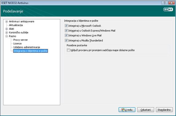 Nod32 ea config mailplugins Integracija s klijentima e pošte