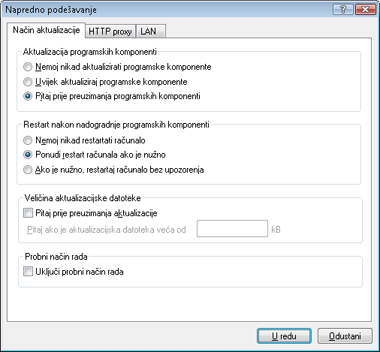 Nod32 ea config update mode Način aktualizacije