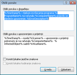 Nod32 ea format notice Oblik poruka
