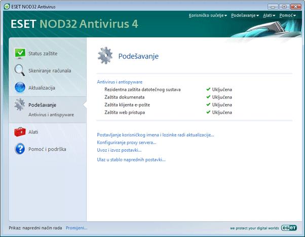 Nod32 ea page advanced settings Podešavanje – Napredni način rada