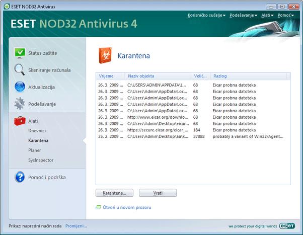 Nod32 ea page quarantine Karantena
