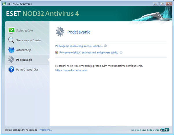 Nod32 ea page simple settings Podešavanje – Standardni način rada
