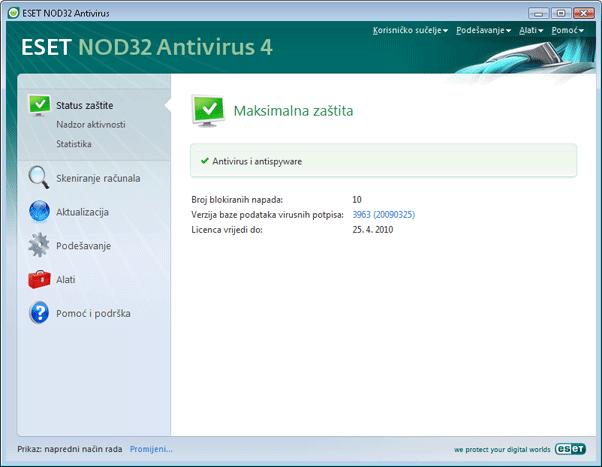 Nod32 ea page status Status zaštite