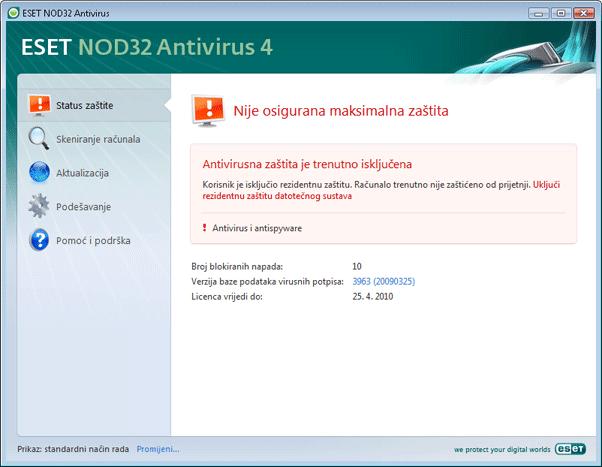 Nod32 ea page status 02 Status zaštite