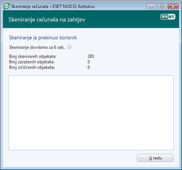 Nod32 ea scan finishwindow Skeniranje je uspješno završeno
