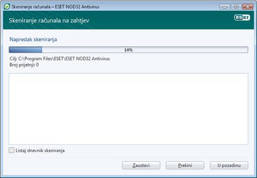 Nod32 ea scan window Skeniranje računala – prozor