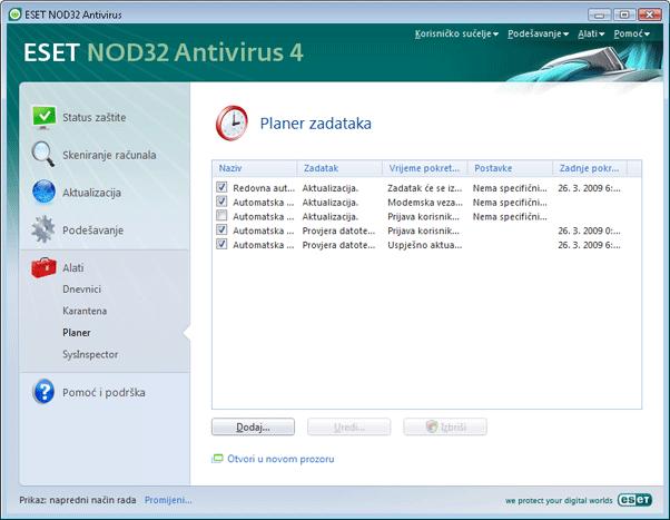 Nod32 ea scheduler info Informacije planera