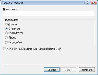 Nod32 ea scheduler type Dodavanje zadatka – vrsta zadatka