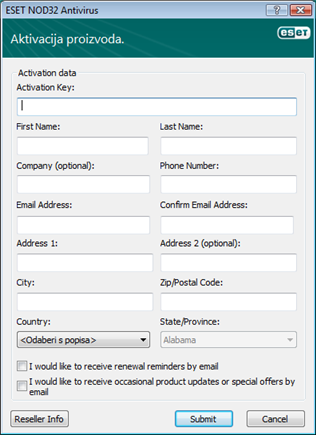 Nod32 ea update registering Aktivacija proizvoda