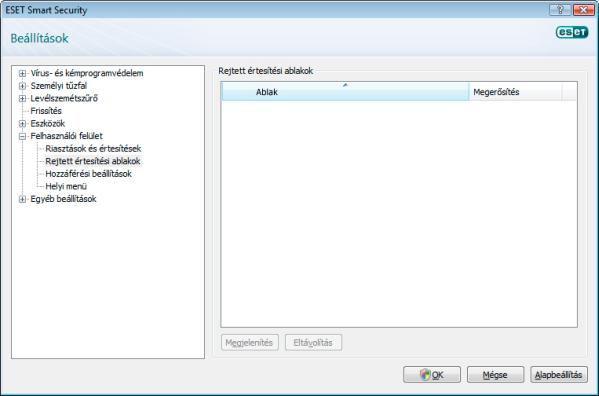 Nod32 config hidden message Rejtett értesítési ablakok