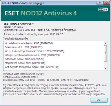 Nod32 ea about Az ESET NOD32 Antivirus névjegye
