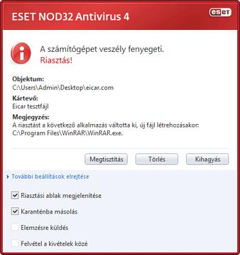 Nod32 ea antivirus behavior and user interaction 01 Teendők, ha a program kártevőt észlelt