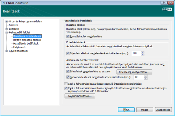 Nod32 ea config alert Riasztások és értesítések