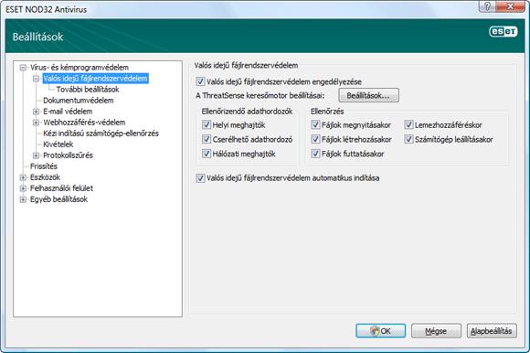 Nod32 ea config amon Az ellenőrzés beállításai