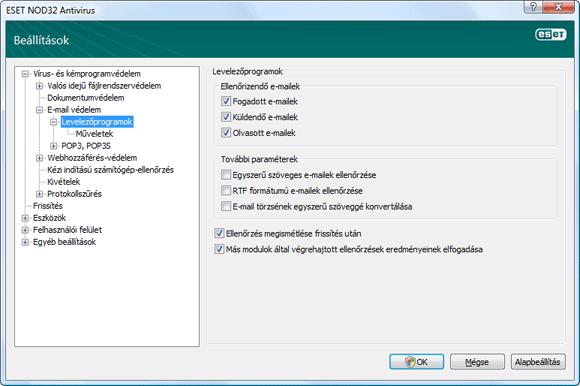 Nod32 ea config emon scan E mail védelem