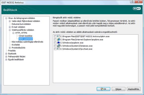 Nod32 ea config epfw browsers mode Böngészők aktív módú védelme