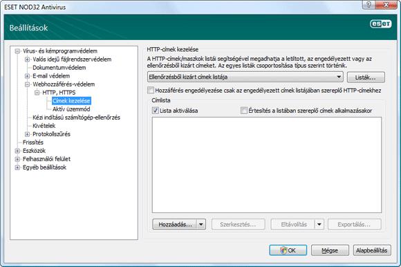 Nod32 ea config epfw scan http excludelist HTTP címek kezelése