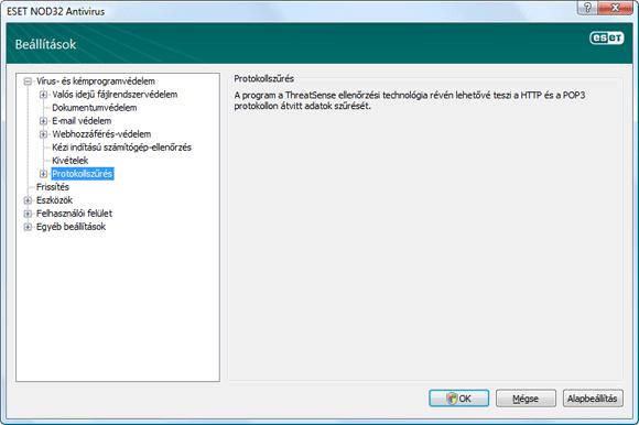 Nod32 ea config epfw scan main page Protokollszűrés