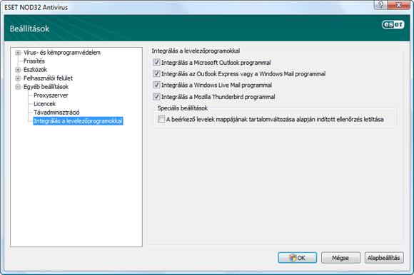 Nod32 ea config mailplugins Integrálás a levelezőprogramokkal