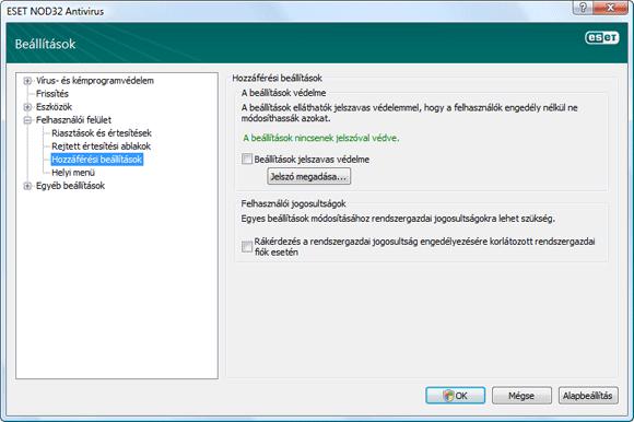 Nod32 ea config password Védelmi beállítások