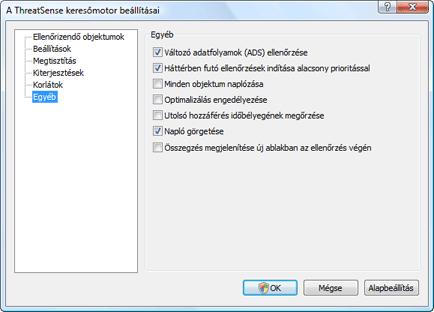 Nod32 ea config scanner scan Az ellenőrzés beállításai