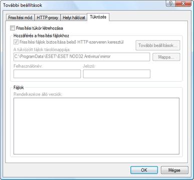 Nod32 ea config update mirror Helyi frissítési szerver létrehozása – tükrözés