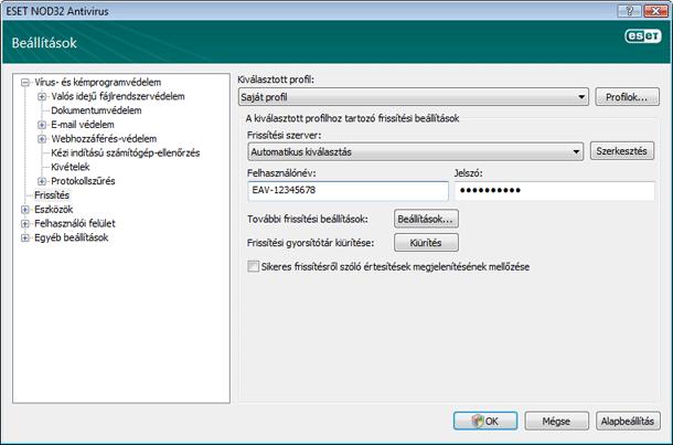 Nod32 ea config update source Frissítési beállítások