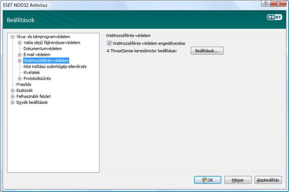 Nod32 ea config web Webhozzáférés védelem