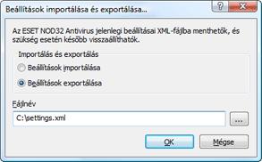 Nod32 ea importexport config Beállítások importálása és exportálása